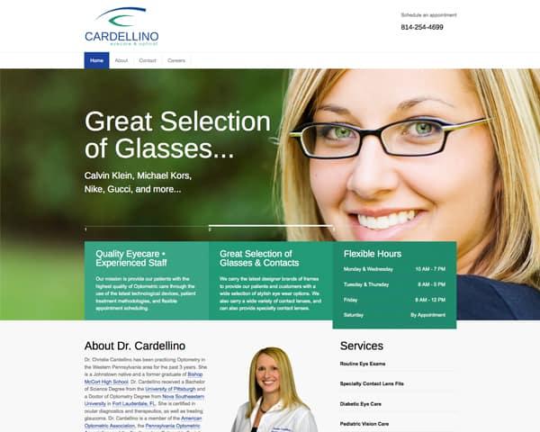 Cardellino Eyecare's website homepage