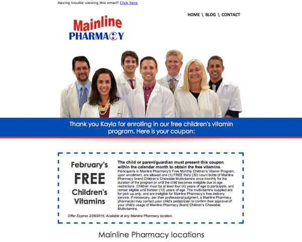 Mainline Pharmacy Email Marketing