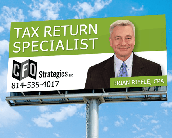 CFO Strategies billboard featuring Brian Riffle