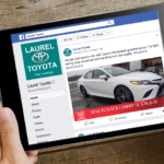 Laurel Auto Group Toyota facebook ad displayed on tablet