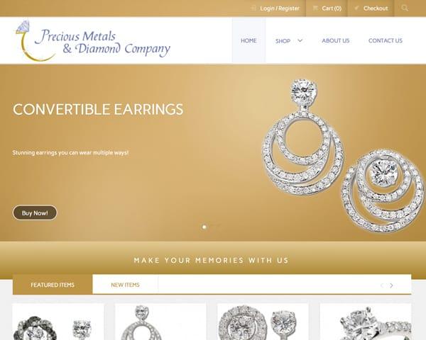 Precious Metals & Diamond Company website homepage