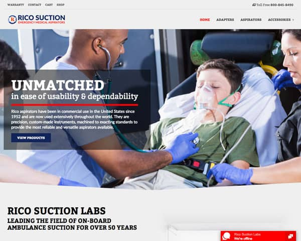 Screenshot of Rico Suction website