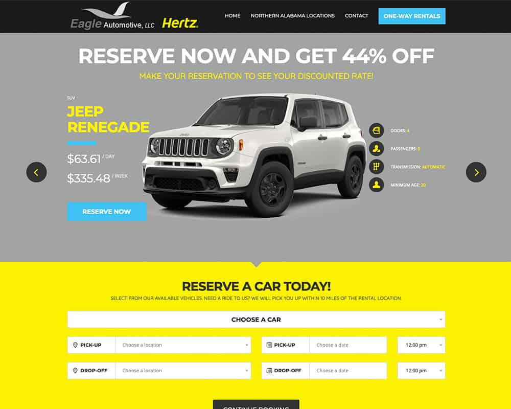 Eagle Automotive Hertz Northern Alabama landing page website