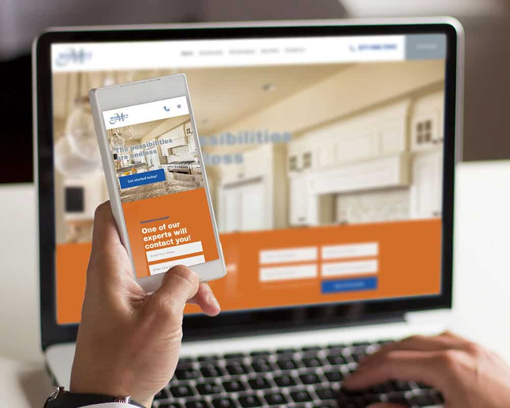Mihalko's Contracting Website on mobile device and laptop