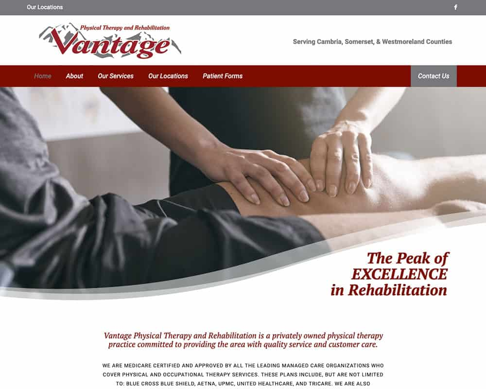 Screenshot of Vantage Physical Therapy and Rehabilitation website